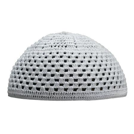 Thekufi White Cotton Mix Crochet Comfortable Skull Cap Open Weave