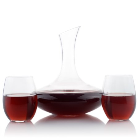 Slant Top Dome - Slanted Top Glass Wine Decanter with 15oz Stemless Wine Glass Set