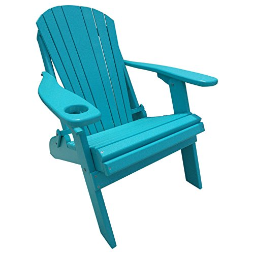 Kunkle Holdings LLC Poly Lumber Wood Folding Adirondack Chair with Cup Holder Blue