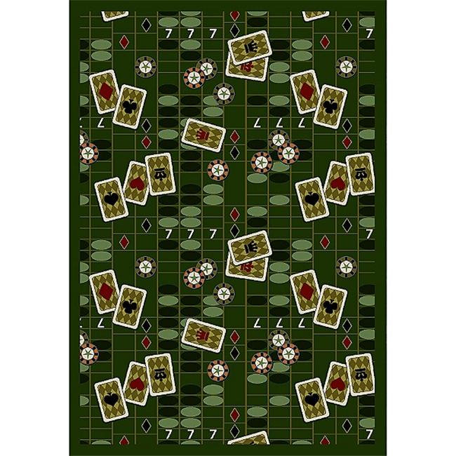 "Joy Carpets Games People Play - Gaming & Sports Area Rugs Feeling Lucky, 5'4"" x 7'8"", Emerald"