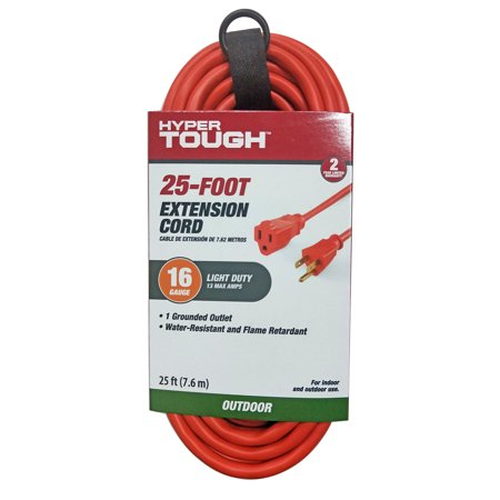 Hyper Tough 25FT 16/3 Extension Cord Orange For Outdoor use