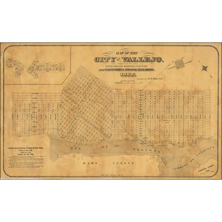 LAMINATED POSTER Map of the City of Vallejo, Terminus of the Napa Valley, Sonoma Valley and California Pacific Railroad. 1868. POSTER PRINT 24 x 36 - Napa Halloween City