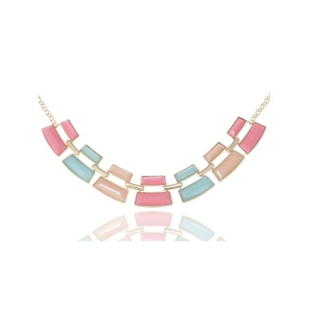 Golden Tone Contemporary Pastel Blue Pink Color Rectangular Bead (Pastel Color Necklace)