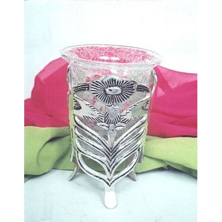 India Overseas Trading SP7575 - Silver Plated Flower Std W/Crack Glass, Not Available in brass.