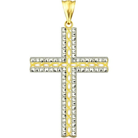 US GOLD Handcrafted 10kt Gold Diamond-Cut Cross Charm Pendant (Golf Charms)