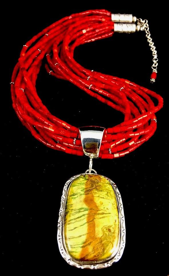 Native American 12 St Coral Gaspeite Pendant Sterling Silver Necklace by Masha