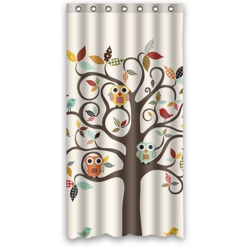 Greendecor Cute Special Owl Waterproof Shower Curtain Set