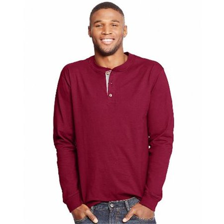 O5719 Beefy Mens Long-Sleeve Henley T-Shirt, Burnt Brick - Extra Large for $<!---->