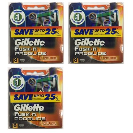Gillette Fusion ProGlide Power Refill Cartridge Blades, 24 Count (3 Packs of 8)