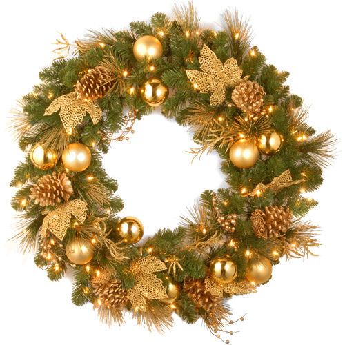 "National Tree Pre-Lit 36"" Decorative Collection Elegance Wreath with 100 Clear Lights"