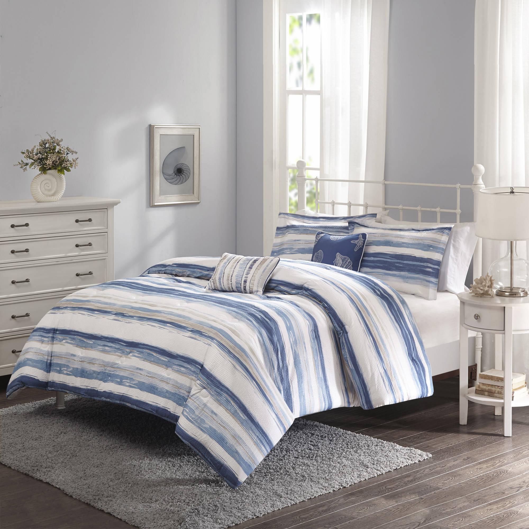 Better Homes and Gardens Blue Brushstroke Stripe 5-Piece Bedding Comforter Set
