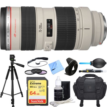 Canon Ef 70 200Mm F 2 8L Usm Lens Deluxe Accessory Bundle Includes Lens  64Gb Extreme Sd Memory Card  Tripod  77Mm Filter Kit  Lens Hood  Bag  Cleaning Kit  Beach Camera Cloth And More