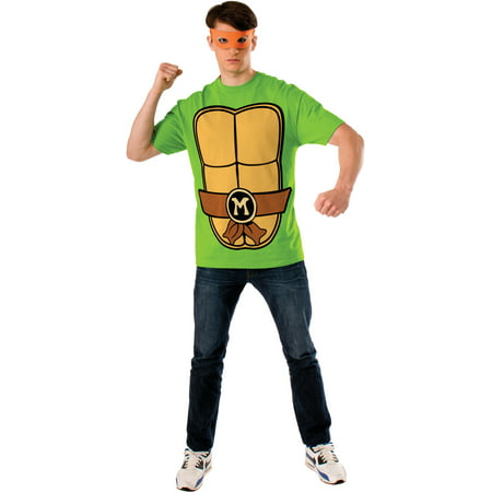 Teenage Mutant Ninja Turtles Michaelangelo Mens T-shirt And Mask Costume - Mens Turtle Costume