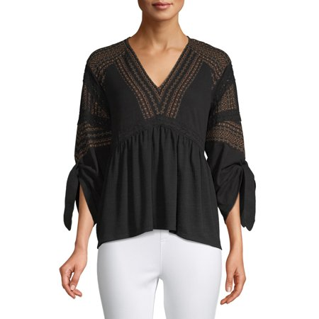 Time and Tru Women's Mixed Peasant Top Glam Peasant Top