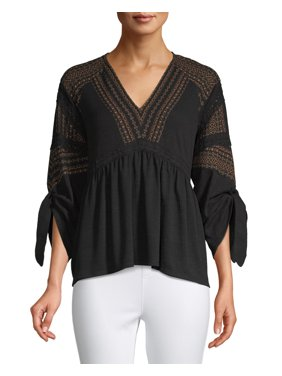 Time and Tru Women's Mixed Peasant Top