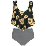 Summer Plus Size Two Piece Bathing Suit Women Print Swimwear