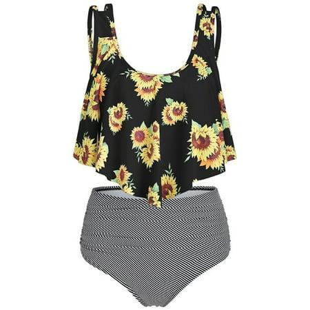 Summer Plus Size Two Piece Bathing Suit Women Print -