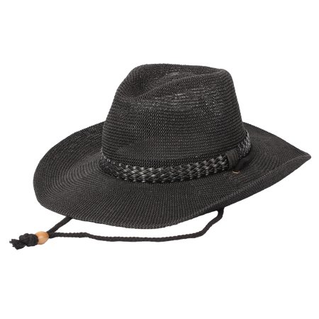 92797cee468 WITHMOONS Western Cowboy Hat Cool Paper Straw Banded Chin Strap CRC1054  (Black) - Walmart.com