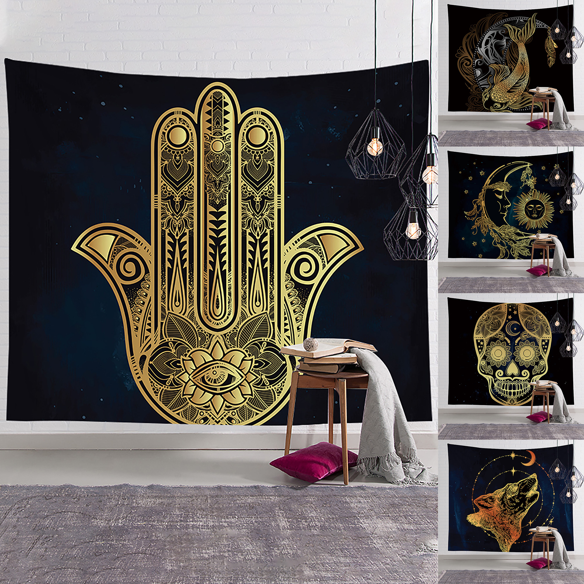 Psychedelic Burning Sun and Moon Tapestry Wall Hanging Tapestries Home Art Decor