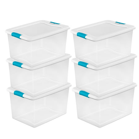 Sterilite 64 Quart Clear Plastic Storage Boxes Bins Totes w/ Latches (6 Pack) for $<!---->