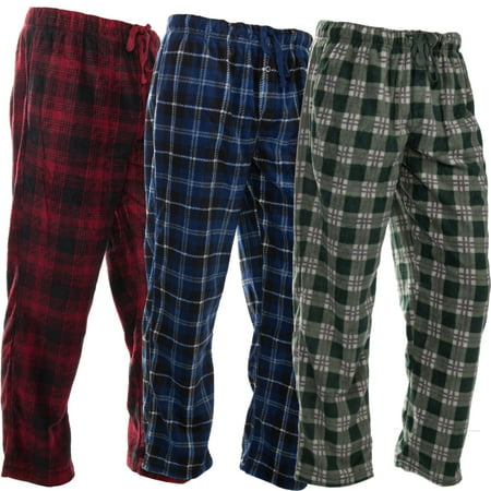 DG Hill (3 Pairs) Mens PJ Pajama Pants Bottoms Fleece Lounge Pants Sleepwear Plaid PJs with Pockets (Beach Lounge Pants)