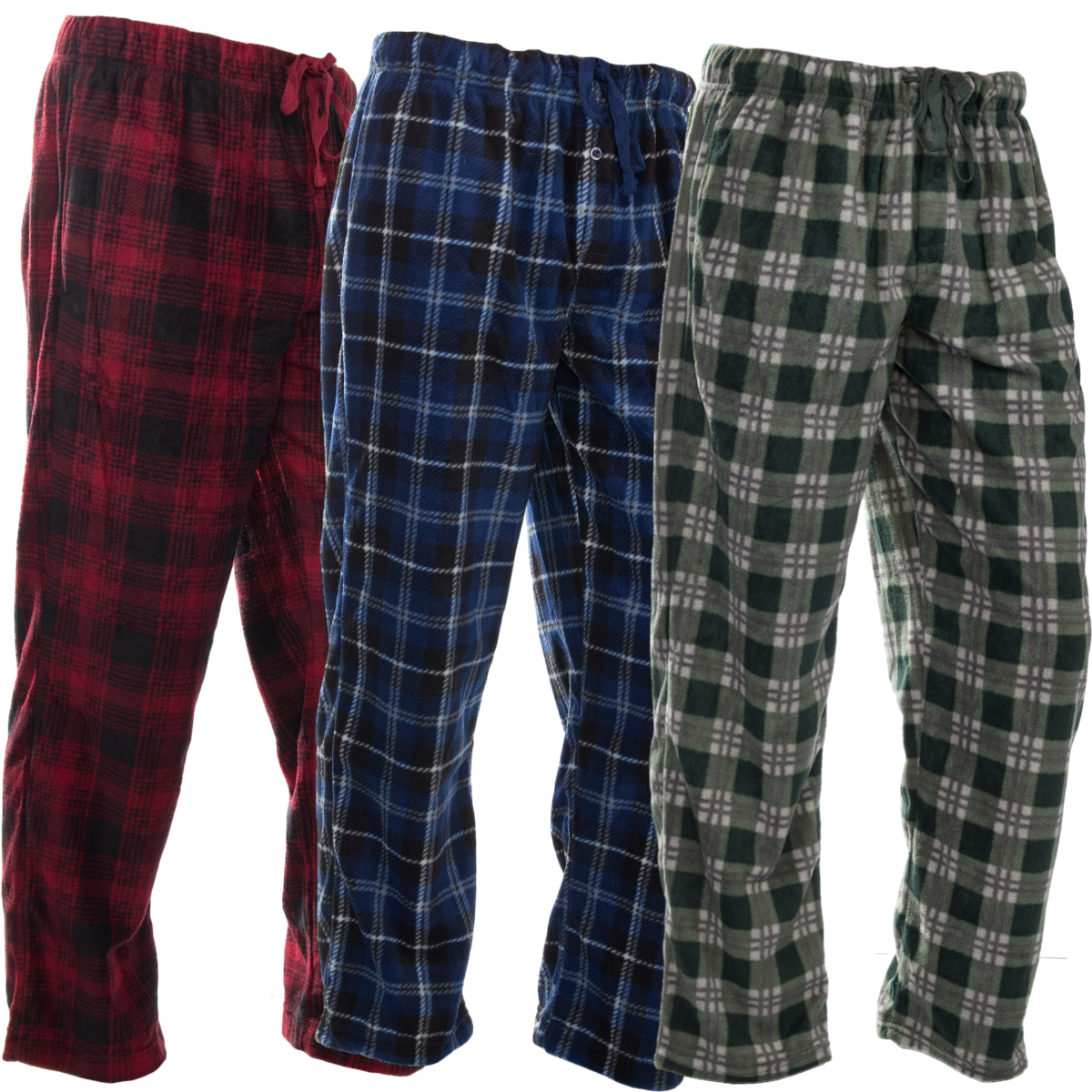 DG Hill (3 Pairs) Mens PJ Pajama Pants Bottoms Fleece Lounge Sleepwear Plaid PJs with Pockets Pants (Red, Blue & Green)