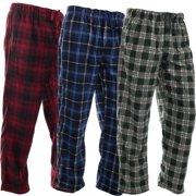 DG Hill (3 Pairs) Mens PJ Pajama Pants Bottoms Fleece Lounge Pants Sleepwear Plaid PJs with Pockets Microfleece