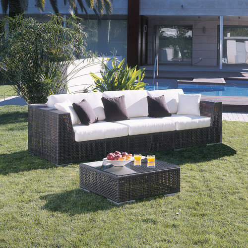 Hospitality Rattan Soho 3 Piece Deep Seating Group with Cushions