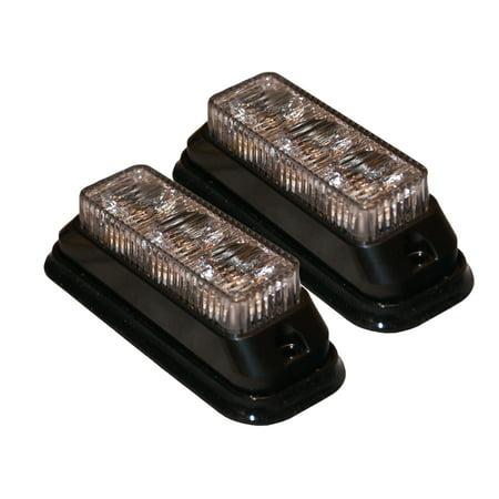 2 Clear White LED Strobe Lights, Surface Mount Auto Strobe Lights