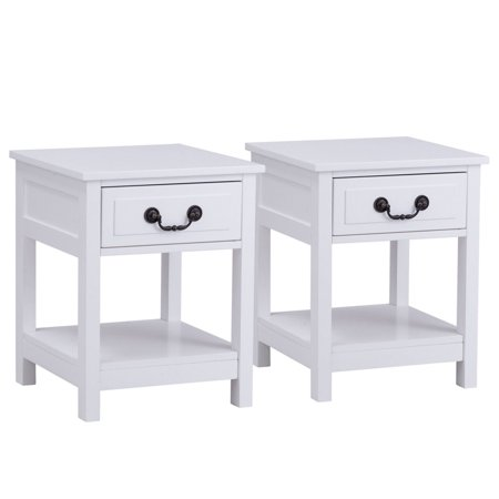 Two Drawer Bed Side Cabinet - Gymax 2PCS Nightstand End Table Bedside Drawer Storage Shelf Organizer Room Furniture