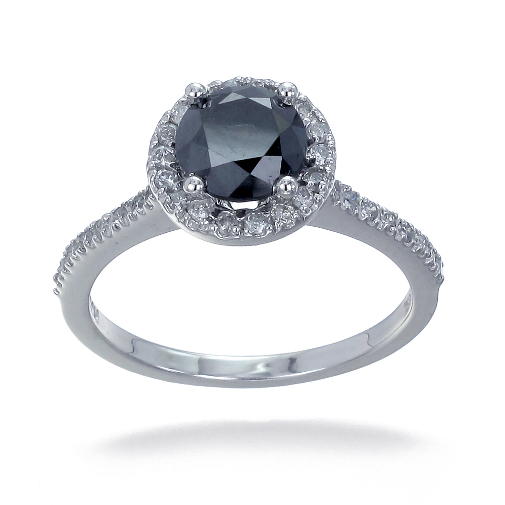 10k white gold black engagement ring 1 50 ct