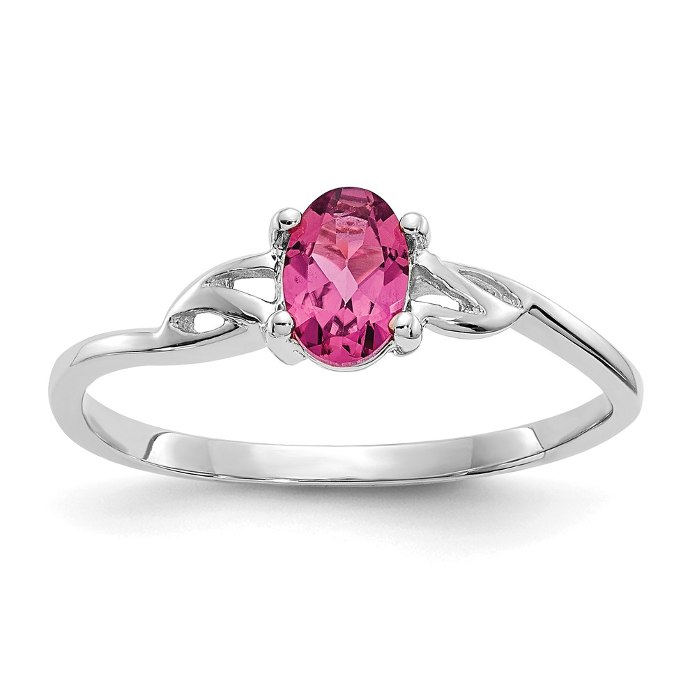 10K White Gold Polished Geniune Pink Tourmaline Birth Month Ring by