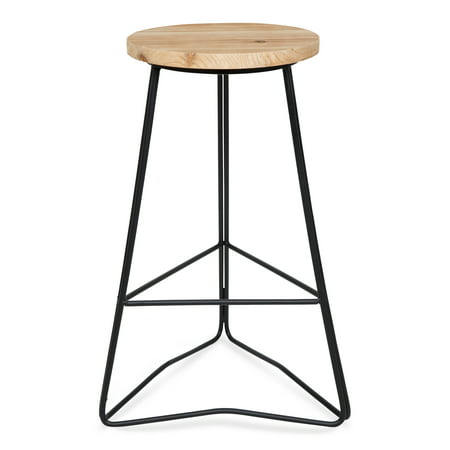 Astonishing Kate And Laurel Godwin Midcentury Modern Backless Counter Height Bar Stool Black Metal Base With Natural Wood Finish Seat Pabps2019 Chair Design Images Pabps2019Com