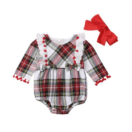 0cd214ea8 Emmababy - 2PCS Infant Baby Girls Rompers Headband Set Clothes Long ...