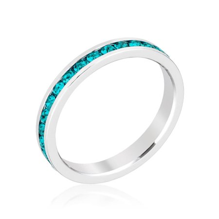 Stylish Stackables with Turquoise Crystal Ring Size 9