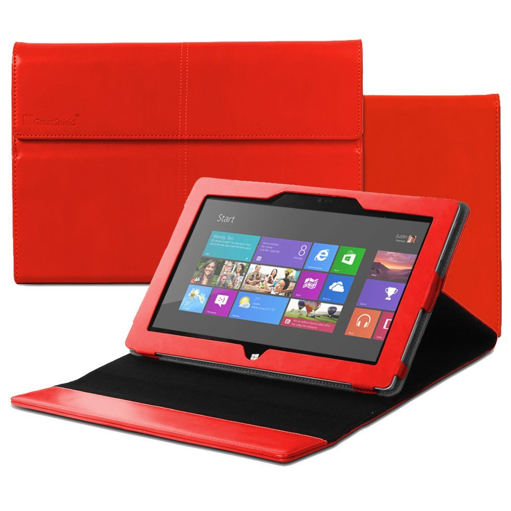 GreatShield VANTAGE Series Leather Folio Stand Case Magnetic Flip Cover for Microsoft Surface 2 / Surface RT Tablet - (Red)