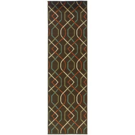 Style Haven Lattice Brown/Ivory Indoor-Outdoor Area Rug (2'3X7'6) - 2'3