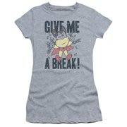 Mighty Mouse Give Me A Break Juniors Short Sleeve Shirt