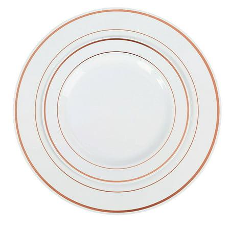 Exquisite 60 Piece Plastic Dinnerware Set - 30 Dinner Plates & 30 Dessert Plates - Rose Gold