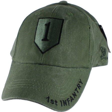 1st Infantry Division Tonal Color Insignia Mens Cap [Olive Drab Green -