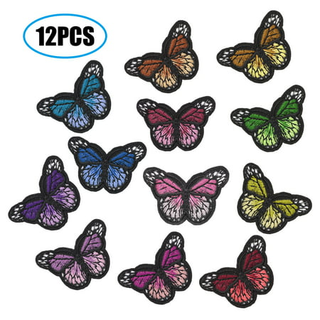 EEEKit 12Pcs Butterfly Iron on Patches, Embroidery Applique Patches for Arts Crafts DIY Decor, Arts Craft Sew Making, Jeans, Jackets, Kid's Clothing, Bag, Caps Repair