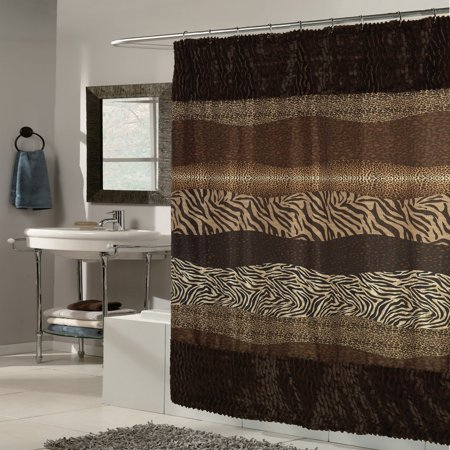 Bed Bath N More Exotic Mix Animal Print Faux Fur Trimmed Fabric Brown Shower Curtain