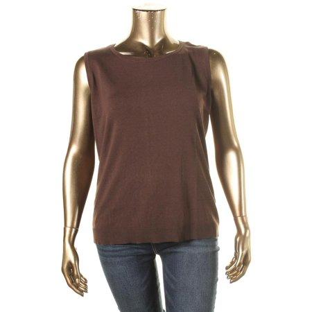 August Silk Womens Plus Knit Sleeveless Pullover Sweater