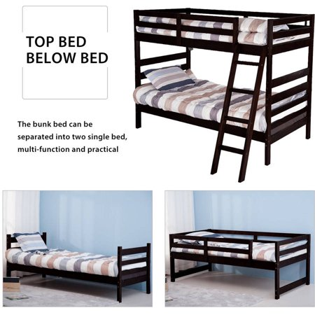 Merax Solid Wood Twin Over Twin Bunk Bed With Ladders Walmart Com