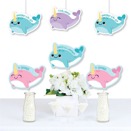 Narwhal Girl - Decorations DIY Under The Sea Baby Shower or Birthday Party Essentials - Set of 20 (Under The Sea Baby Shower Decorations)