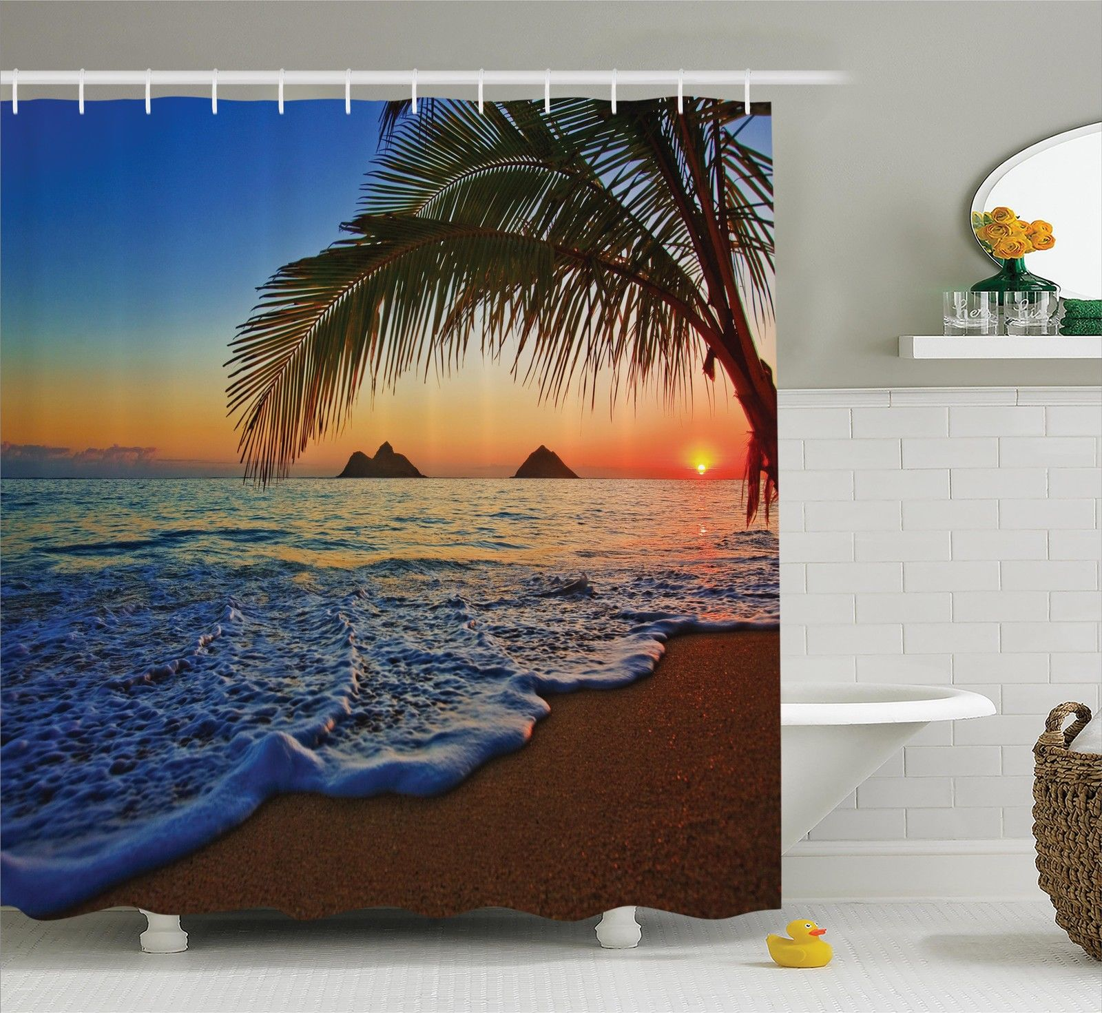 Hawaiian Decorations  Pacific Sunrise At Lanikai Beach, Hawaii Colorful Sky Wavy Ocean Surface Scene, Bathroom Accessories, 69W X 84L Inches Extra Long, By Ambesonne