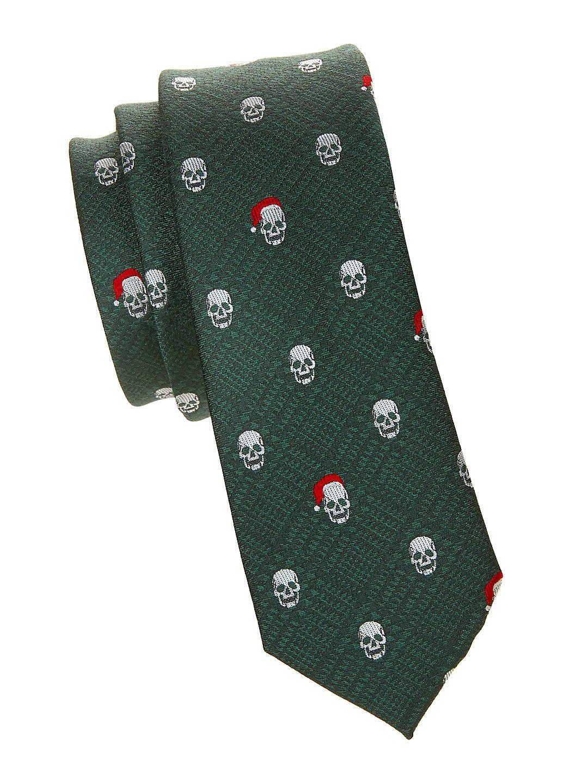 Skull-Print Tie