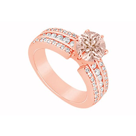 Morganite and Three Rows of Diamonds in 14K Rose Gold Engagement Ring Jewelry Gift for Her - image 1 of 2