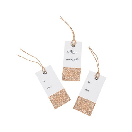 Fun Express - White Gift Tags With Burlap Accent - Craft Supplies - Bulk Craft Accessories - Felt & Fabrics - 6 Pieces