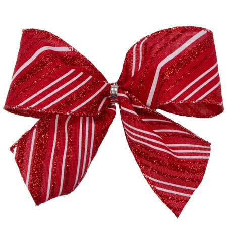 Pack of 6 Red and White Striped Glittered Mini Christmas Bow Decorations 5